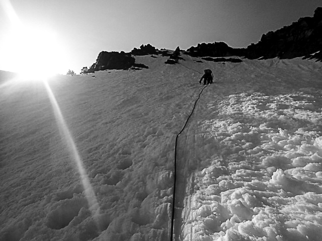 Me climbing up the steep snow slope.