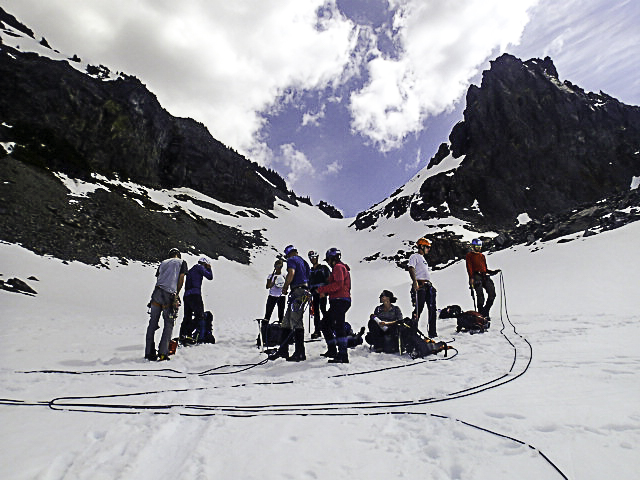 Practicing z-pullies for crevasse rescue