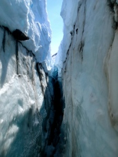 In the crevasse!