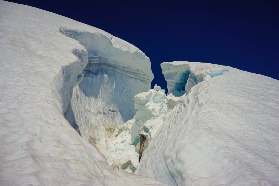 Looking into the crevasse.
