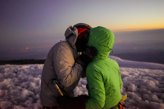 Right after getting engaged on top of Mount Rainier